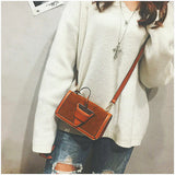 Metal Lock Suede Crossbody Bag with Wide Belt - Siscloset