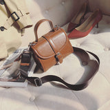 Retro Smooth Leather Handbag with strap - Siscloset