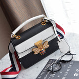 Butterfly Metal Lock Quilted PU Leather Crossbody Bag - Siscloset
