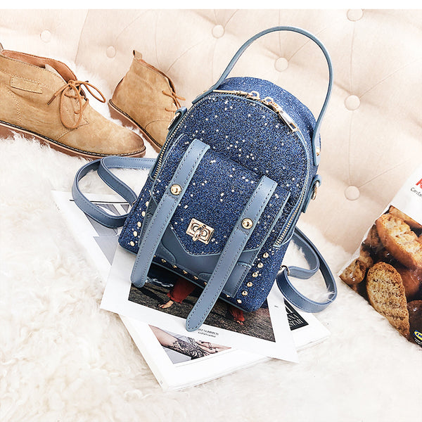 Metal Lock Front Pocket Design Sequins Backpack - Siscloset