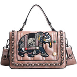 Elephant Embroidery Gem Decorated Crossbody Bag - Siscloset