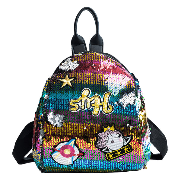 Lovely Embroidery Detailed Sequins Backpack - Siscloset