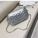 Lozenge Leather Chain Bag - Siscloset