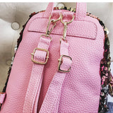 Pink Wings Design Sequins Backpack - Siscloset