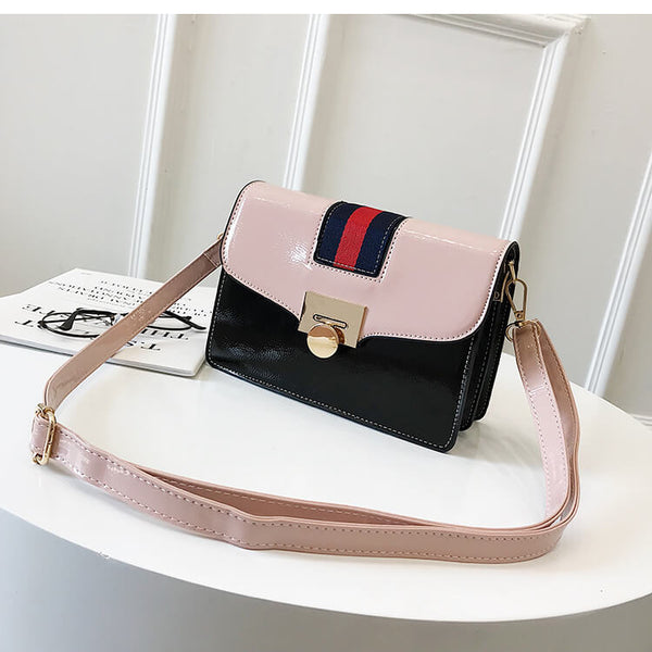 Stripe Detail PVC Flap Bag - Siscloset