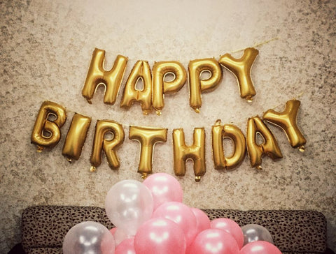 Happy Birthday Foil Balloons Pack Gold Silver 17inch 13 Letters Free Shipping