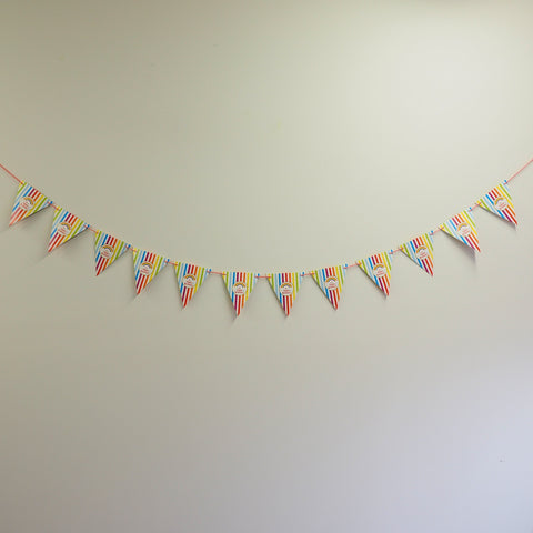 cartoon happy birthday triangle banners 3 colours partywand
