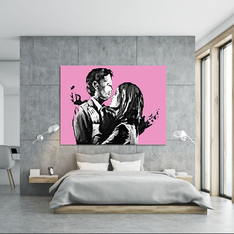 Banksy Mobile Lovers Pink Canvas Print or Poster