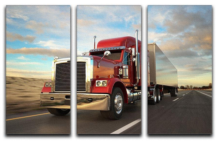 18 Wheel Red Truck 3 Split Panel Canvas Print
