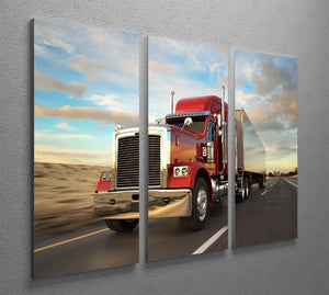 18 Wheel Red Truck 3 Split Panel Canvas Print - Canvas Art Rocks - 2