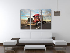 18 Wheel Red Truck 3 Split Panel Canvas Print - Canvas Art Rocks - 3