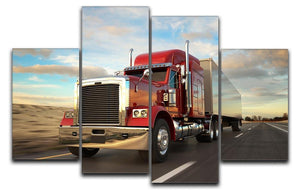 18 Wheel Red Truck 4 Split Panel Canvas  - Canvas Art Rocks - 1