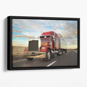 18 Wheel Red Truck Floating Framed Canvas
