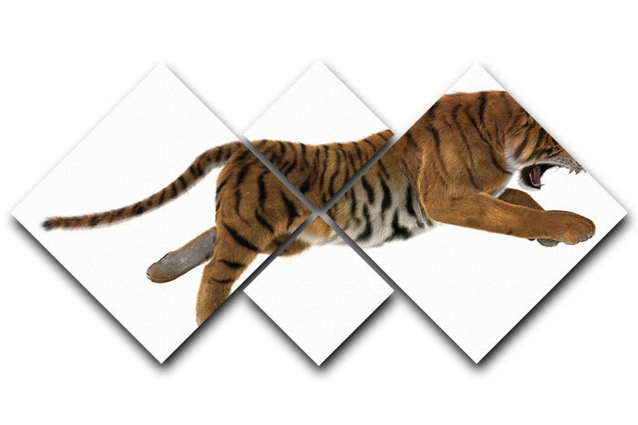 3D digital render of a hunting big cat 4 Square Multi Panel Canvas