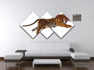3D digital render of a hunting big cat 4 Square Multi Panel Canvas - Canvas Art Rocks - 3