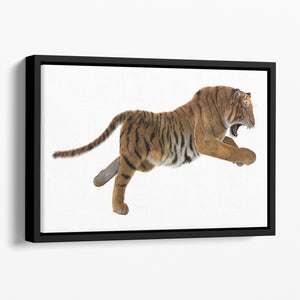 3D digital render of a hunting big cat Floating Framed Canvas - Canvas Art Rocks - 1
