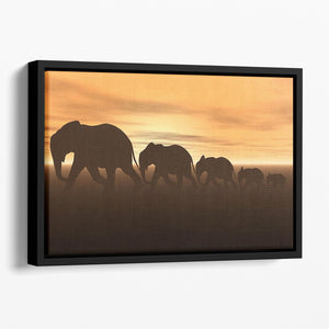 3D render of elephants Floating Framed Canvas - Canvas Art Rocks - 1