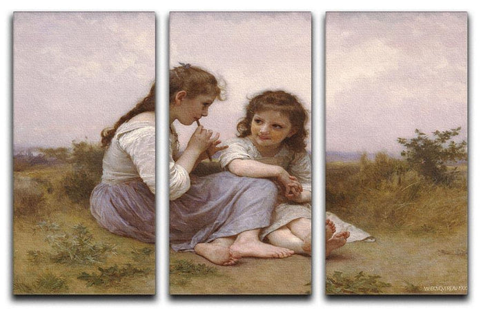 A Childhood Idyll 1900 By Bouguereau 3 Split Panel Canvas Print