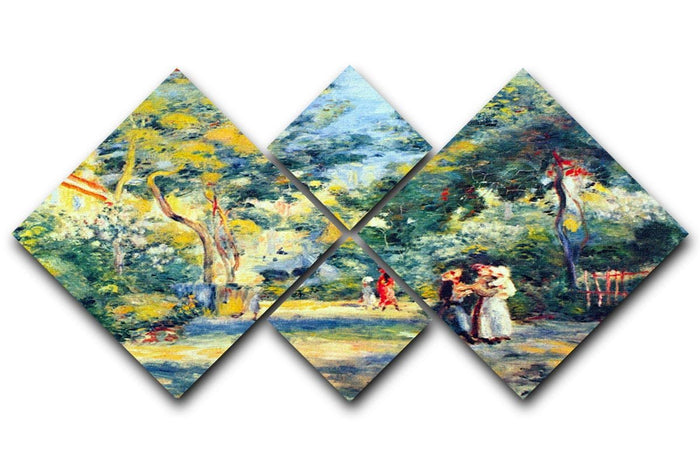 A Garden in Montmartre by Renoir 4 Square Multi Panel Canvas