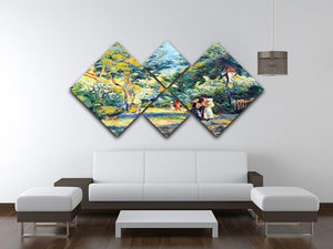 A Garden in Montmartre by Renoir 4 Square Multi Panel Canvas - Canvas Art Rocks - 3