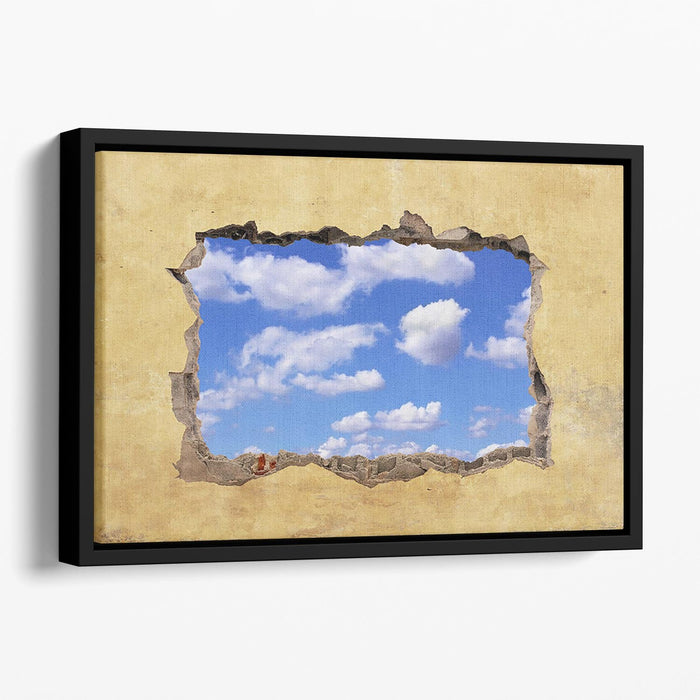 A Hole in a Wall with Blue Sky Floating Framed Canvas
