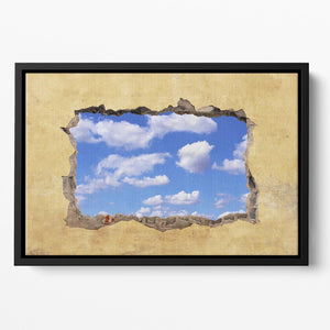 A Hole in a Wall with Blue Sky Floating Framed Canvas - Canvas Art Rocks - 2