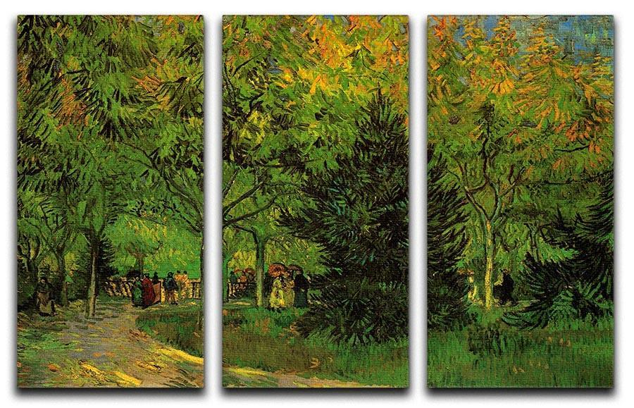 A Lane In The Public Garden At Arles By Van Gogh 3 Split Panel Canvas Print  ...