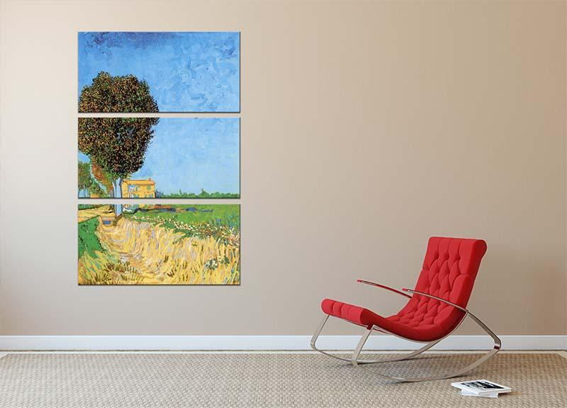 A Lane near Arles by Van Gogh 3 Split Panel Canvas Print - Canvas Art Rocks - 2