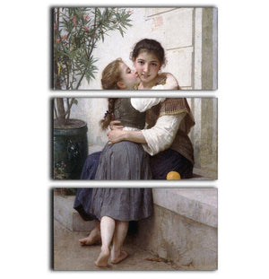 A Little Coaxing 1890 By Bouguereau 3 Split Panel Canvas Print - Canvas Art Rocks - 1