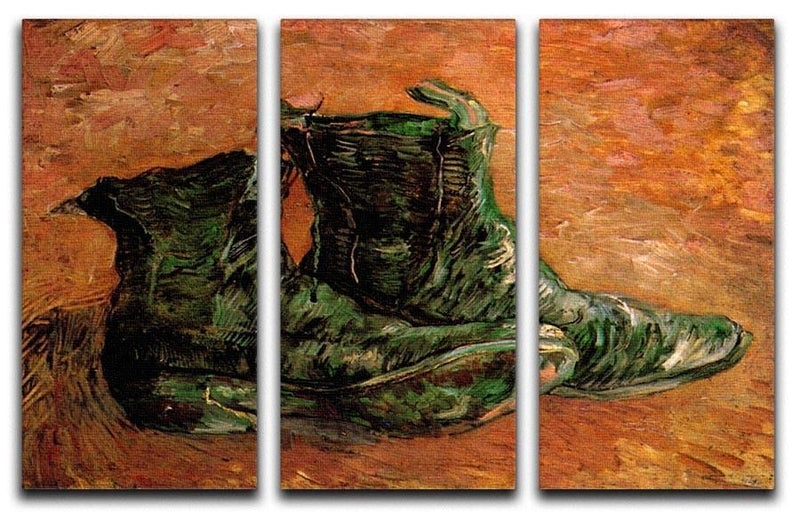 A Pair of Shoes by Van Gogh 3 Split Panel Canvas Print - Canvas Art Rocks - 4