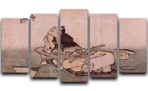 A Philospher looking at two butterflies by Hokusai 5 Split Panel Canvas  - Canvas Art Rocks - 1