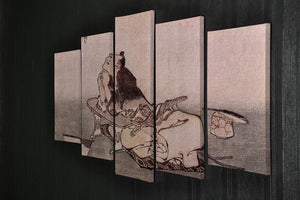 A Philospher looking at two butterflies by Hokusai 5 Split Panel Canvas - Canvas Art Rocks - 2