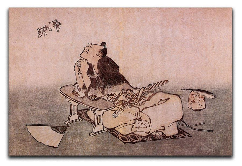 A Philospher looking at two butterflies by Hokusai Canvas Print or Poster  - Canvas Art Rocks - 1