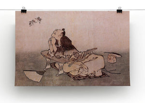 A Philospher looking at two butterflies by Hokusai Canvas Print or Poster - Canvas Art Rocks - 2