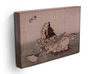 A Philospher looking at two butterflies by Hokusai Canvas Print or Poster - Canvas Art Rocks - 3