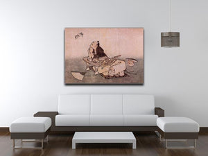 A Philospher looking at two butterflies by Hokusai Canvas Print or Poster - Canvas Art Rocks - 4