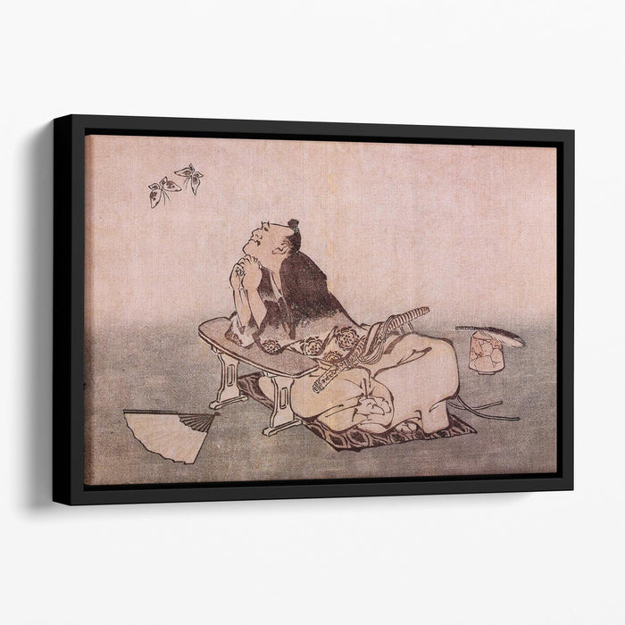 A Philospher looking at two butterflies by Hokusai Floating Framed Canvas