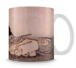 A Philospher looking at two butterflies by Hokusai Mug - Canvas Art Rocks - 1