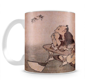 A Philospher looking at two butterflies by Hokusai Mug - Canvas Art Rocks - 2