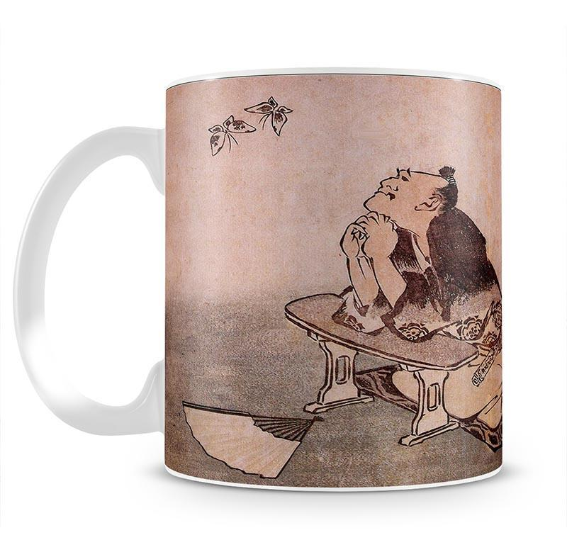 A Philospher looking at two butterflies by Hokusai Cup - Canvas Art Rocks - 2
