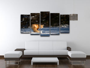 A Red Fox turns back to look at the camera 5 Split Panel Canvas - Canvas Art Rocks - 3