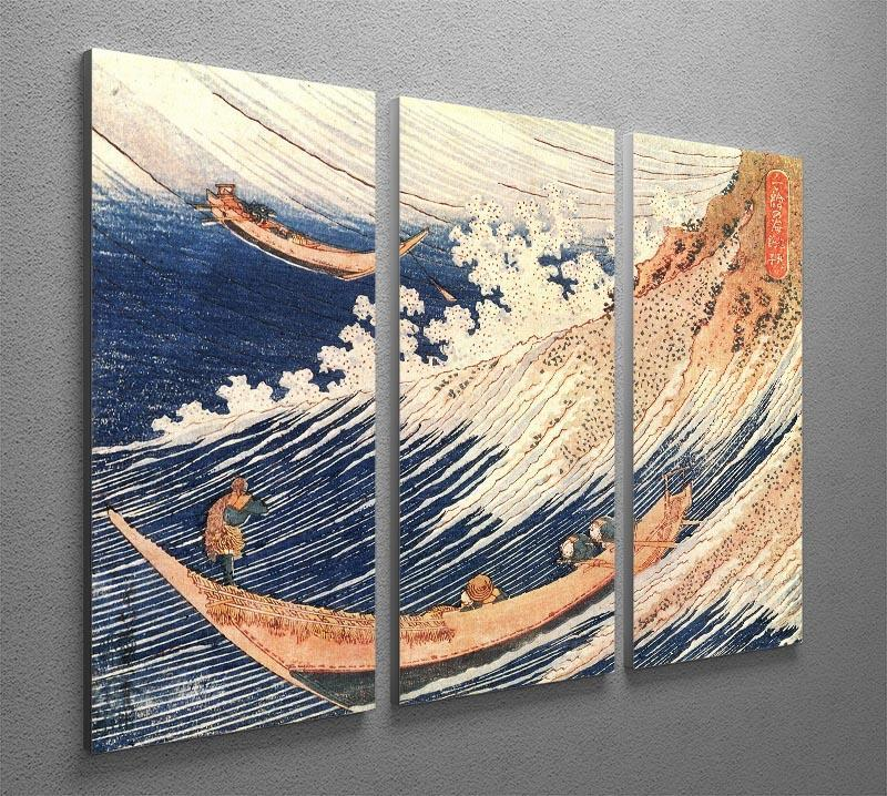 A Wild Sea at Choshi by Hokusai 3 Split Panel Canvas Print - Canvas Art Rocks - 2