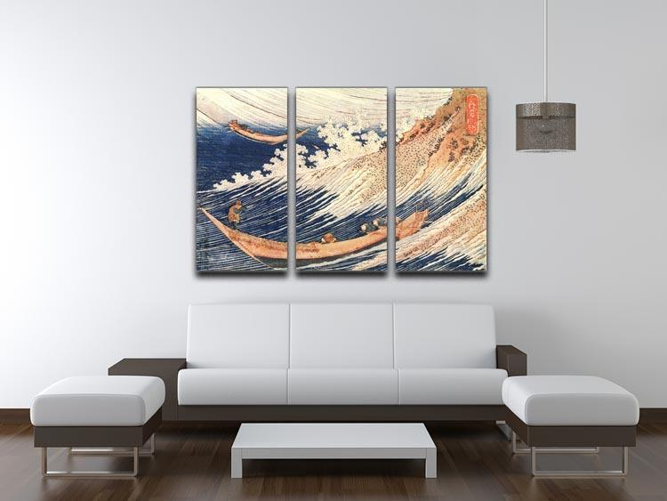 A Wild Sea at Choshi by Hokusai 3 Split Panel Canvas Print - Canvas Art Rocks - 3