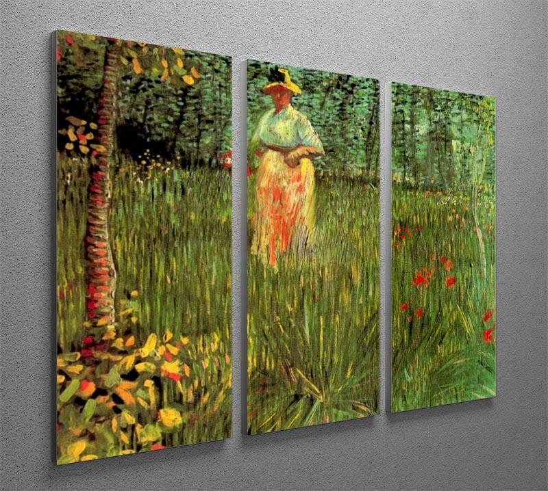 A Woman Walking in a Garden by Van Gogh 3 Split Panel Canvas Print - Canvas Art Rocks - 4