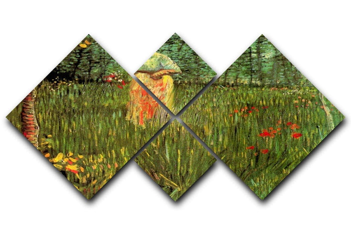 A Woman Walking in a Garden by Van Gogh 4 Square Multi Panel Canvas