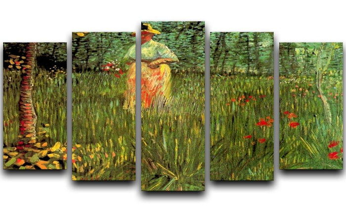 A Woman Walking in a Garden by Van Gogh 5 Split Panel Canvas