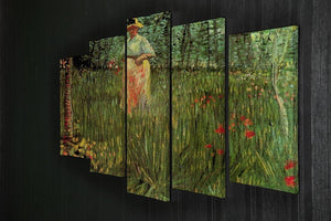 A Woman Walking in a Garden by Van Gogh 5 Split Panel Canvas - Canvas Art Rocks - 2