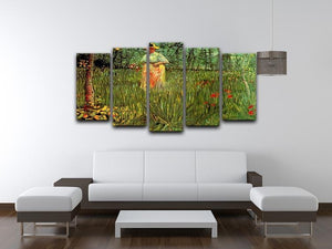 A Woman Walking in a Garden by Van Gogh 5 Split Panel Canvas - Canvas Art Rocks - 3