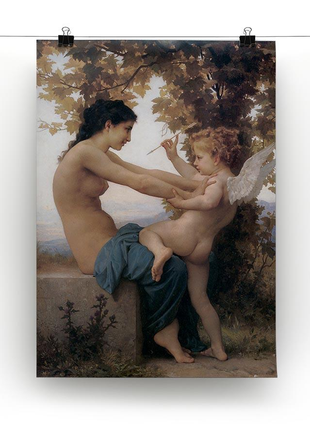 A Young Girl Defending Herself Against Eros By Bouguereau Canvas Print or Poster - Canvas Art Rocks - 2