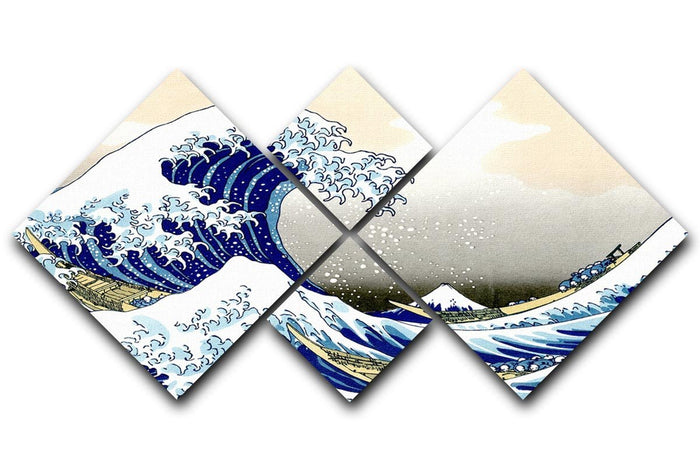 A big wave off Kanagawa by Hokusai 4 Square Multi Panel Canvas